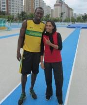 Maryam Tousi with Usain Bolt - Photo source davandegan.com