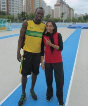 Maryam Tousi with Usain Bolt - Photo source davandegan.com
