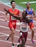 100m - Femi Seun Ogunode (Qatar), Zhang Peimeng (China) and Reza Ghasemi (Iran)